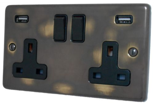 G&H CAN910B Standard Plate Polished Aged Brass 2 Gang Double 13A Switched Plug Socket 2.1A USB